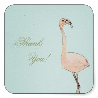 vintage pink flamingo art thank you sticker