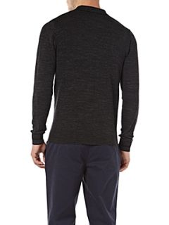 Fred Perry Long sleeved knitted polo shirt Graphite