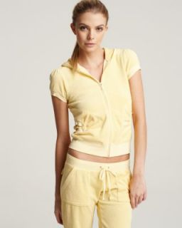 Juicy Couture New Yellow Terry Cloth Zip Front Short Sleeve Hoodie Top