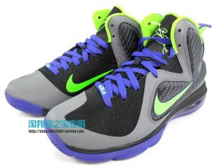 Nike Lebron 9 GS Basketball Black Electric Green Grey Size 4 0 Y Woman