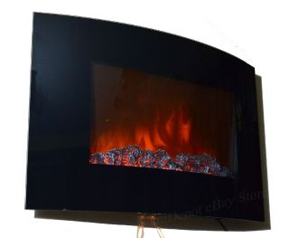 Electric Fireplace Heater 1500W Wall Mount Log with LED Flame