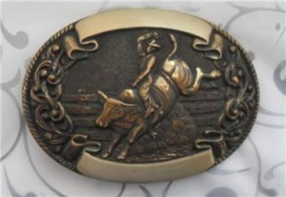 Vintage Chambers Bull Riding Trophy Belt Buckle