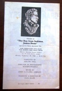 James Dean 25th Memorial Program 9 30 1980 Fairmount Ind Signed by