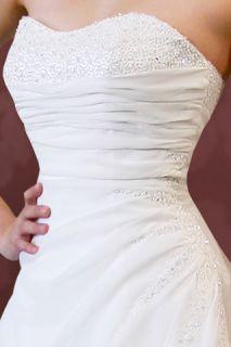 Leeza Strapless Corset with Chiffon Wedding Dress Gown 10 Ivory Brand
