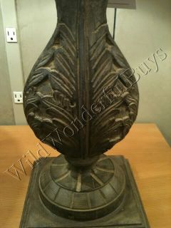 Pottery Barn Leighton Hand Carved Mango Wood Table Lamp New in Box