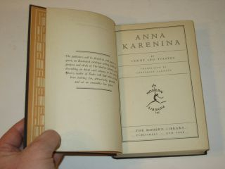 Leo Tolstoy Anna Karenina Modern Library Cloth