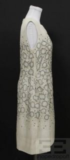 Lela Rose Cream Blue Silk Embroidered Beaded Sleeveless Dress Size 10