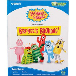 ~YO GABBA~BROBEES BIRTHDAY~VTECH~READING SYSTEM BOOK w/CARTRIDGE~tag