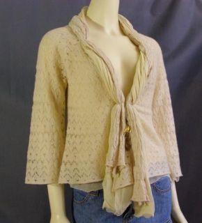 Leifsdottir Anthropologie Beloved Ivory Wool Silk Pointelle Cardigan