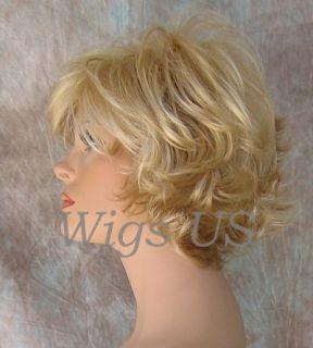 Wigs Golden Pale Blonde Very Short Flip Curls w Bangs Wig
