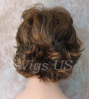 Wigs Brown Strawberry Very Short Flip Curls w Bangs Wig