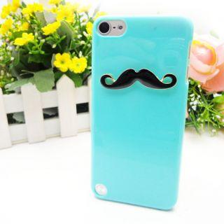 LEON Sexy Chaplin 3D Black Mustache Case Blue Cover For Apple iPod