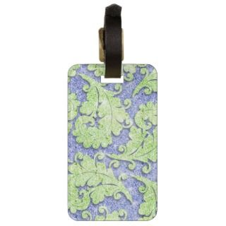 Girly paisley pattern, green & blue glitter photo travel bag tags