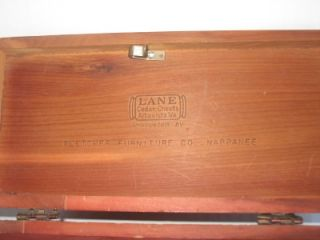 Vintage Mini Lane Cedar Chest Marked in Lid Pletcher Furniture Co
