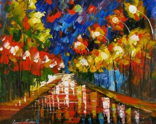 Leonid Afremov Hard Rain Park Original Oil Painting on Canvas