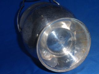 Vintage Leonard Silverplate Ice Bucket w Tongs Engraved Floral Design