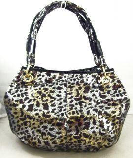 Curations Bobbi Black Animal Print Tote Handbag Purse