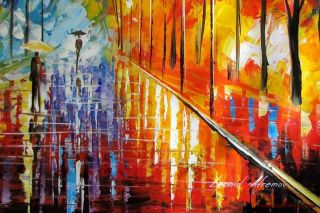 Leonid Afremov Impressions Park Original Oil Painting on Canvas