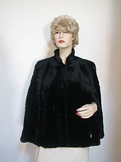 Vintage Black Sheared Beaver Cape Extra Soft Supple Gorgeous
