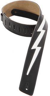 Levys BLACK Leather Hard Rock Guitar/Bass Strap w/ White Lightning