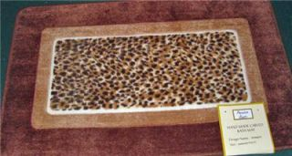 Leopard Brown Carved Throw Rug Bath Mat