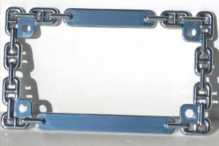 Chrome Chain Link License Plate Frame Motorcycle Number Lic Bracket