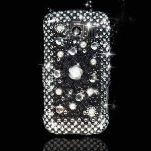 LG Optimus S, U, V LS670 VM670 Black Pearl Diamond Crystal Phone Cover