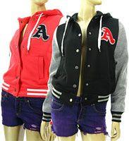 Tree Women&Girl Varsity Letter B Baseball Letterman Jacket 4 Colors