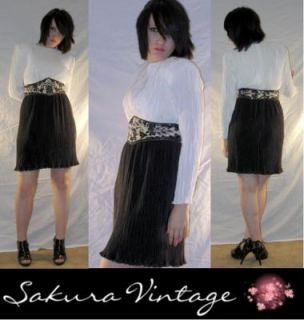80s Trophy Dress Sequined Ruched Black White Belted Disco Sz 6
