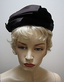 Ladies Vintage Black 2 Fabric Hat Norman Durand 1276