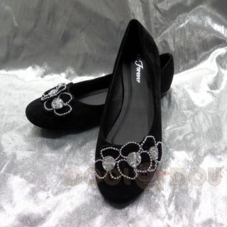 Fashion Casual Black Velvet FlatsShoes NEW All Size LETICIA 71 BLACK