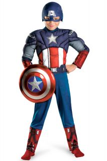 Movie Captain America Muscle Light Up Child Costume Size s 4 6