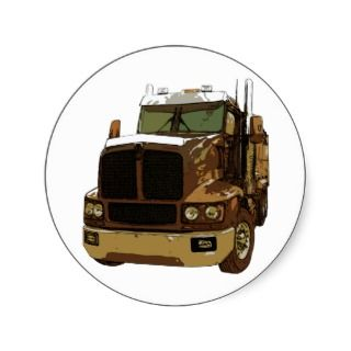Brown Semi Truck Sticker