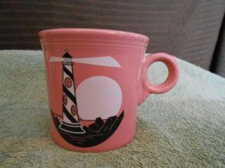 Laughlin Fiesta Ware Pink Rose Light House Coffee Cup Mug USA