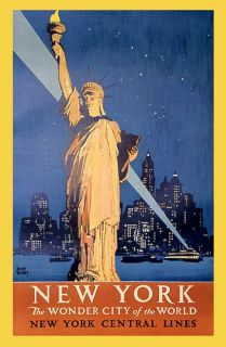 NEW YORK STATUE LIBERTY WONDER CITY OF THE WORLD VINTAGE POSTER REPRO