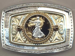 Gold on Silver Walking Liberty Cut Coin Belt Buckle