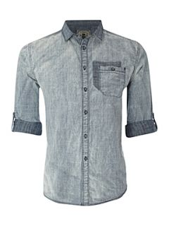 Label Lab Acid wash chambray shirt Blue   House of Fraser