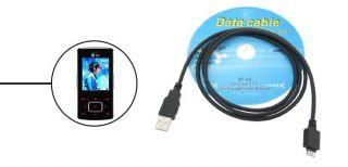 USB Data Adapter Cable Line Black for LG KG90 KG800