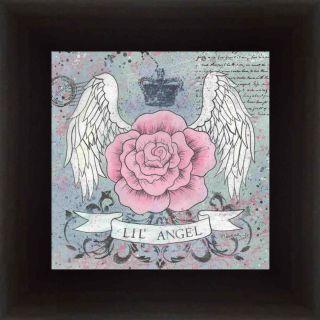 Lil Angel Rose Tattoo Angel Wings Girls Room Print