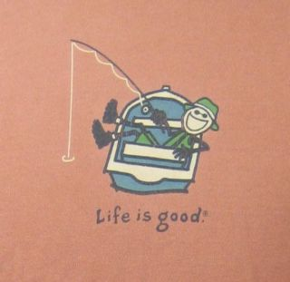 Life Is Good Fishing Boat Fisherman T Shirt Large
