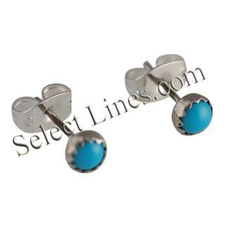 Linda Yazzie Sterling Silver Turquoise Round Stud Earrings Navajo