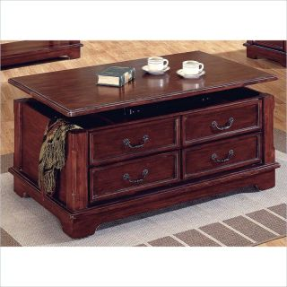 Silver Barrington Warm Cherry Lift Top w Casters Coffee Table