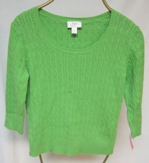 Sweater Ann Taylor Loft Lime Green Cable L Large 100 Cotton