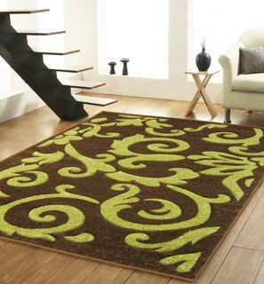 Large Modern Chocolate Brown Lime Green Hand Carved Damask Rugs