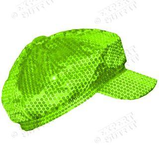 SEQUIN NEWSBOY Lime Green HAT RETRO LADIES CABBIE CAP NEW WHOLESALE #