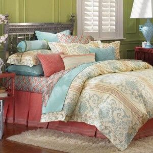 St. Tropez Full Queen Duvet Cover Ivory Coral Blue Lime Green Damask