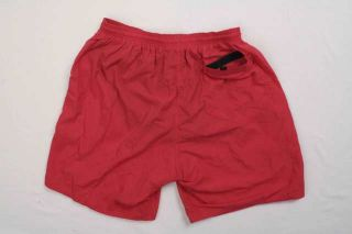 Nylon Lifeguard Swim Trunk 9 3 Pocket XL Red Mens Active Short w Logo