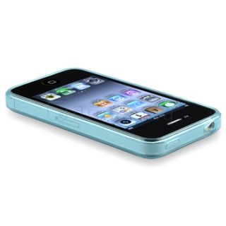 Clear Frost Light Blue TPU Skin Soft Gel Rubber Case Cover for iPhone