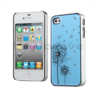 Dandelion Rhinestone Blue Hard Back Case Cover for Apple iPhone 4 4S