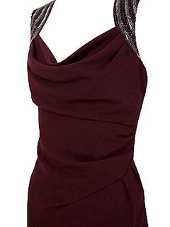 Alexon Berry pink embellished shoulder cowl neck dress Pink